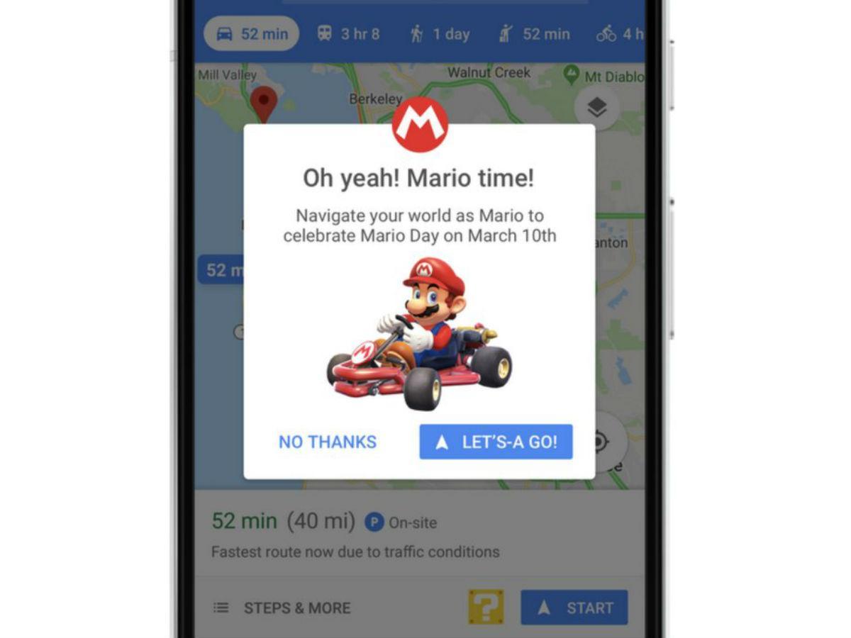 Mario Kart no Google Maps