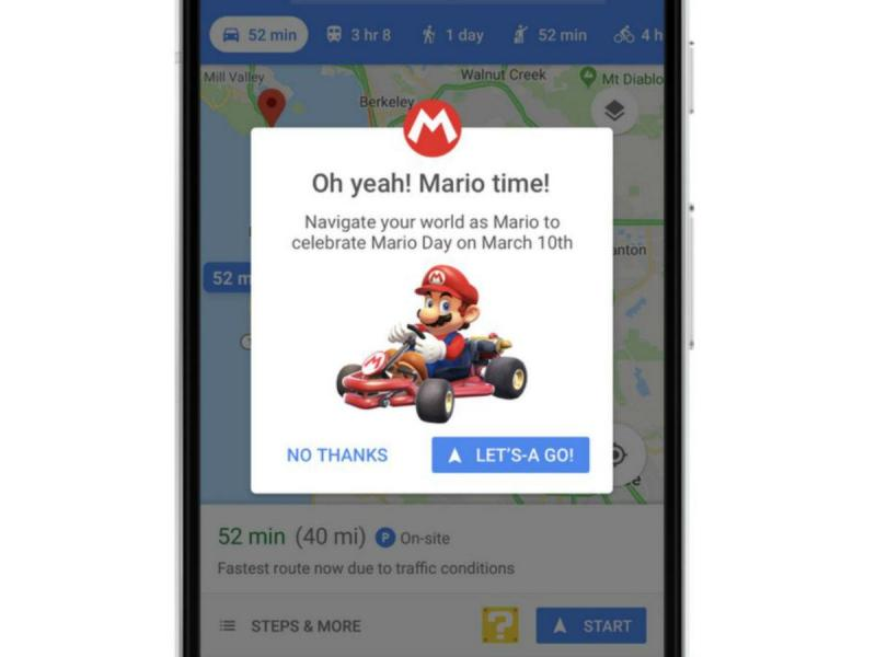 Mario Kart no Google Maps