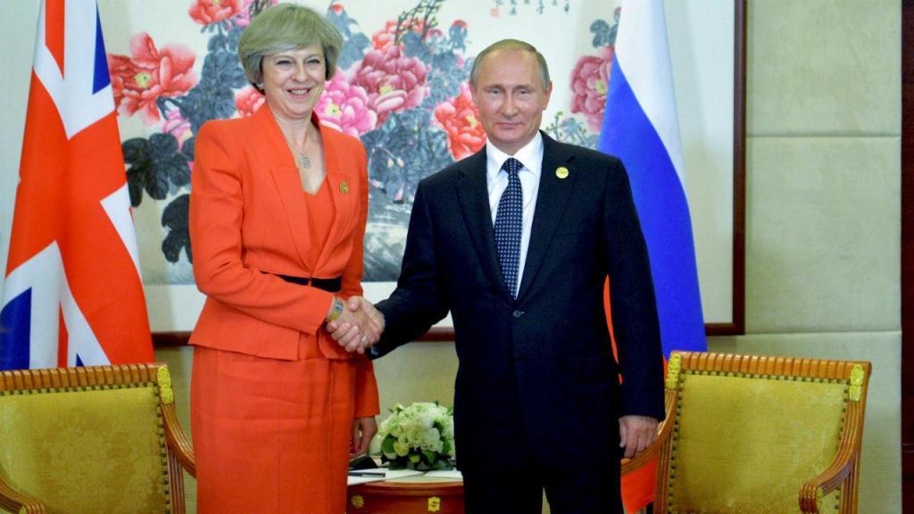 Theresa May e Vladimir Putin, em 2006, na cimeira do G20, na China
