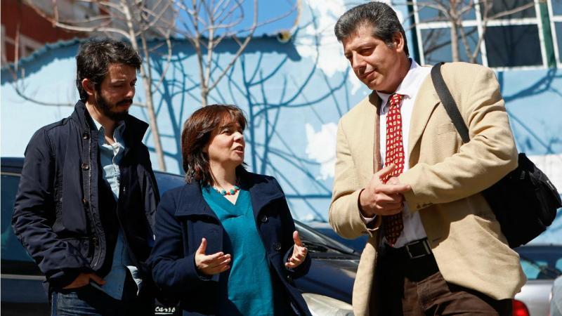 Moisés Ferreira, Catarina Martins (BE) e presidente do Sindicato dos Enfermeiros Portugueses (SEP), José Carlos Martins