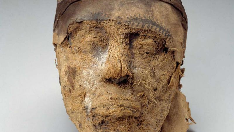 Cabeça da múmia egípcia pertencente ao governador Djehutynakht