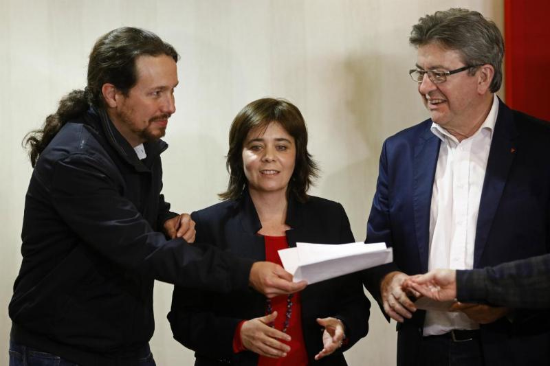 Catarina Martins (BE) com Pablo Iglesias (Podemos) e Jean Luc Melenchon (France Insoumise)