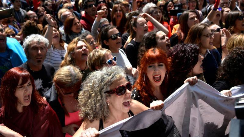La Manada - protestos em Pamplona