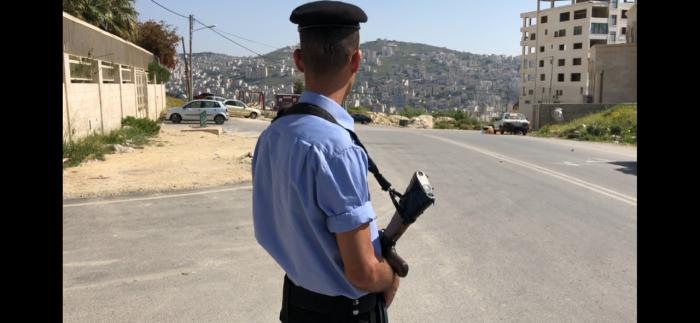 Agente da polícia palestiniana em Nablus
