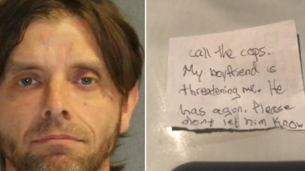A nota que uma vítima de violência doméstica deixou ao veterinário