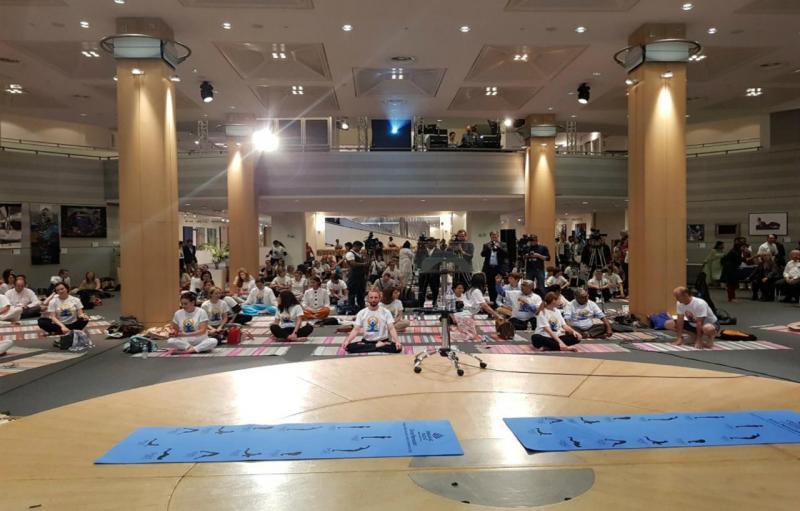 Aula da ioga no Parlamento Europeu