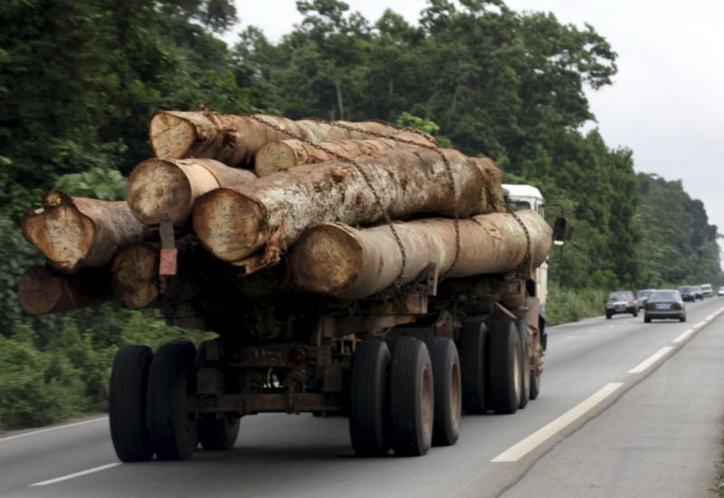 Camião carregado de madeira - África
