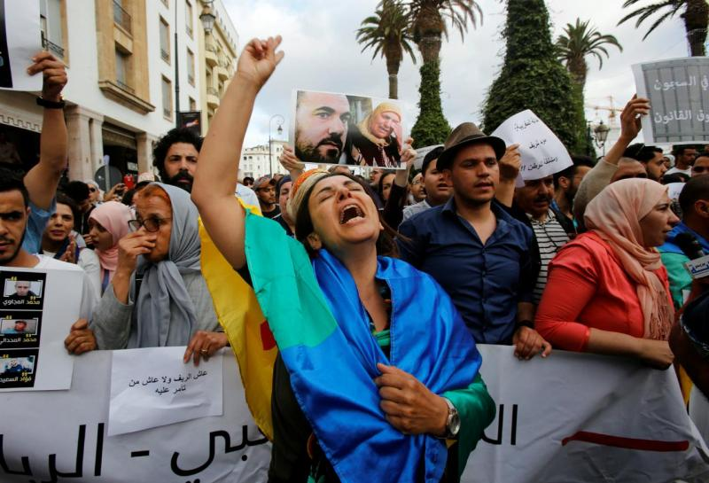 Marrocos - protestos contra a prisão de dirigentes do movimento Hirak