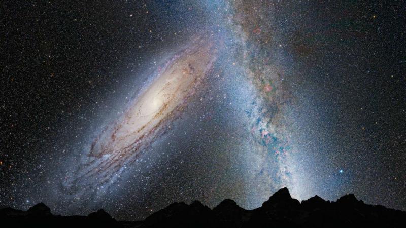 Simulação da colisão de Andrómeda com a Via Láctea, dentro de quatro mil milhões de anos