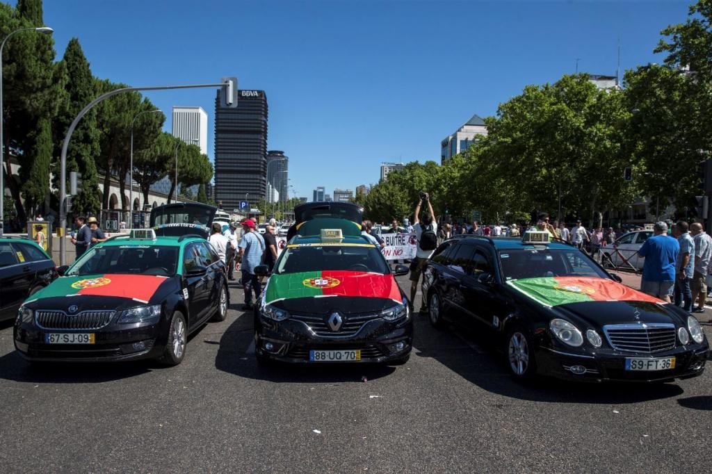 Protesto taxistas em Espanha
