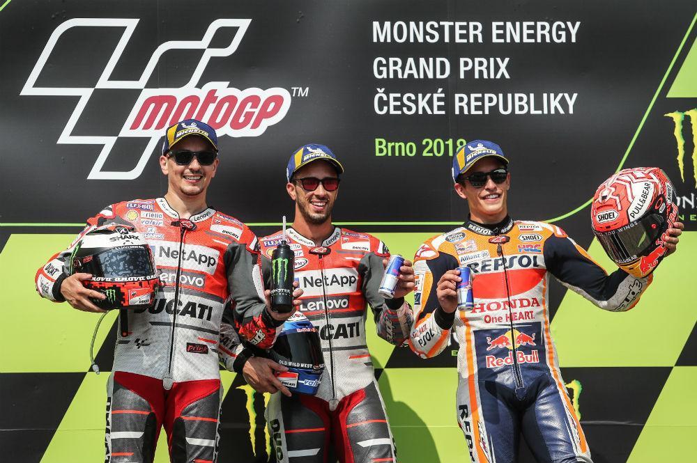 Pódio MotoGP Rep. Checa (Lusa)