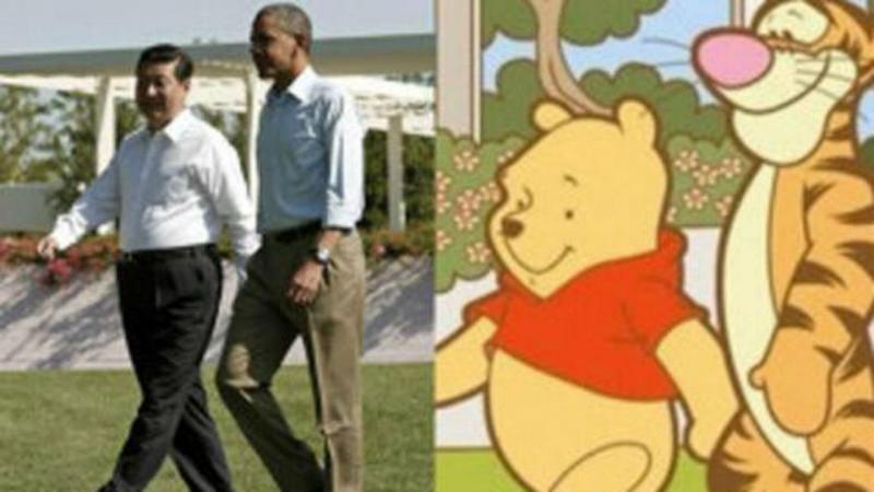 Representação que compara fotografia do presidente chinês com Obama comparada com imagem do urso com o amigo Tigger