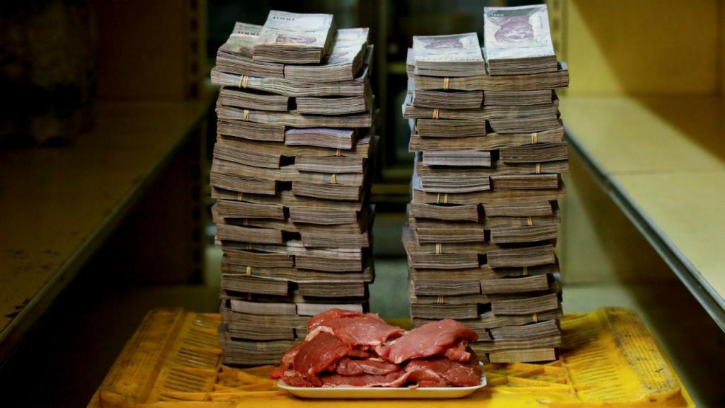 1 kg de carne custa 9 500 000 bolívares (1,26 euros)