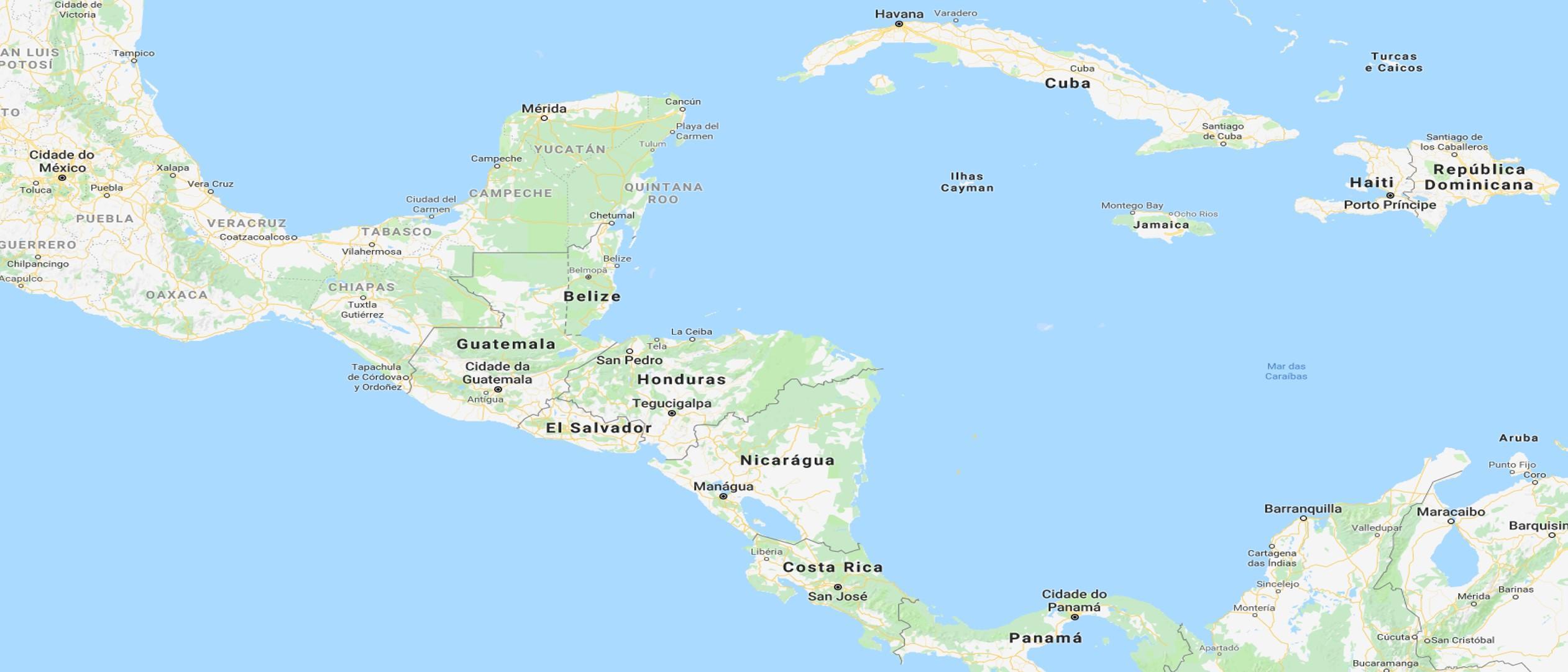 Mapa Mar das Caraíbas