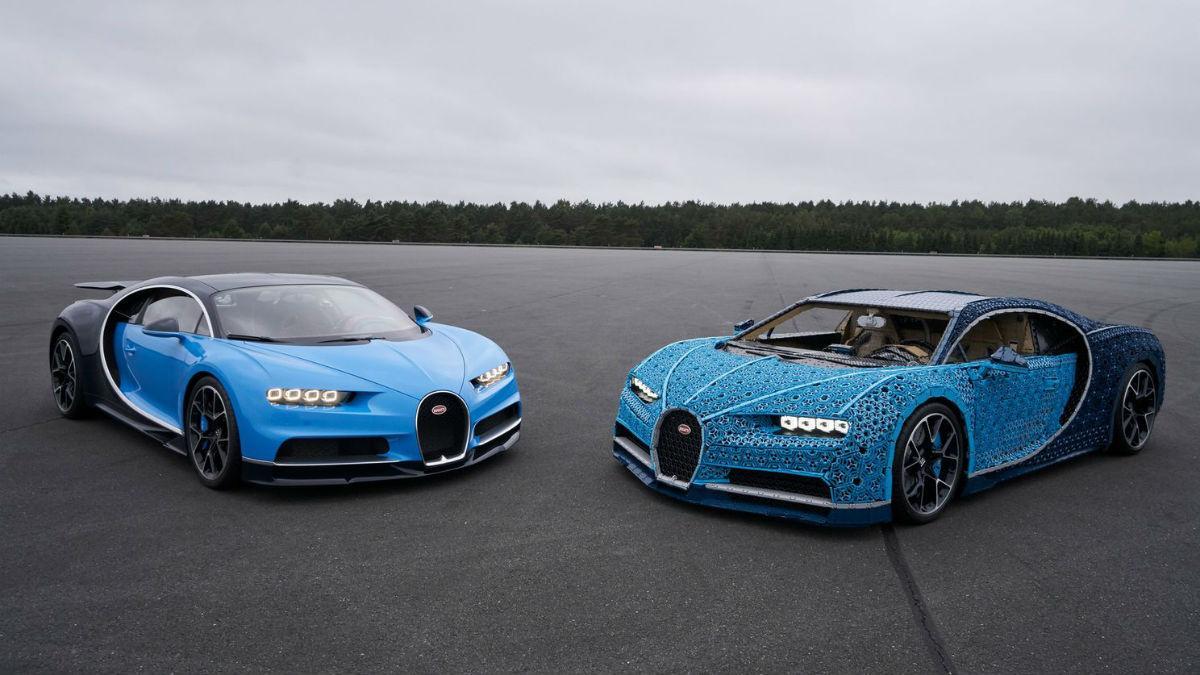 Os Bugatti Chiron original e de Lego (imagem Lego)