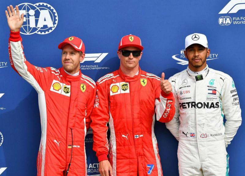 Vettel, Raikkonen e Hamilton - Monza (Lusa)