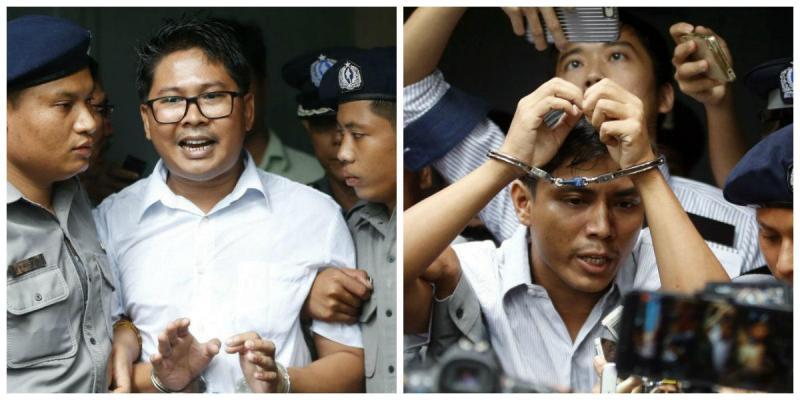 Jornalistas da Reuters Wa Lone e Kyaw Soe Oo