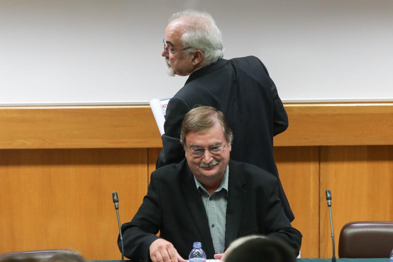 Carlos Silva (UGT) e Vieira da Silva (ministro do Trabalho)
