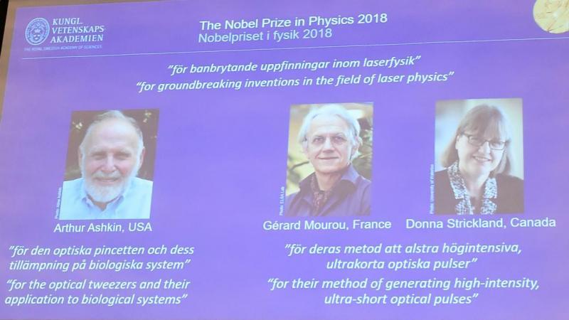Nobel da Física atribuído a Arthur Ashkin, Gérard Mourou e Donna Strickland
