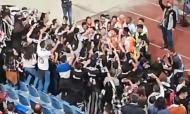 A festa de equipa e adeptos do Sertanense no final do jogo com o Benfica