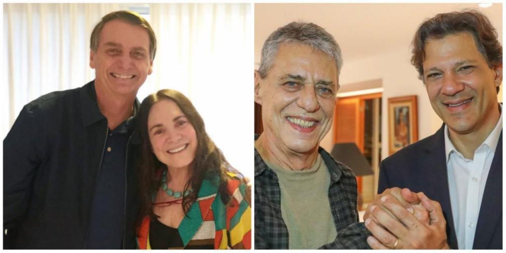Bolsonaro vs. Haddad e os famosos que os apoiam