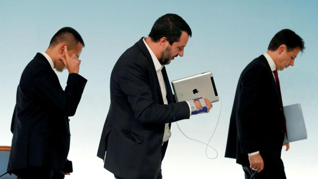 Luigi di Maio, Mateo Salvini e Giuseppe Conte