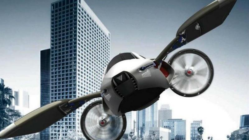 Conceito futurístico de carro voador