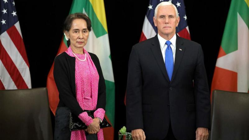 Aung San Suu Kyi e Mike Pence