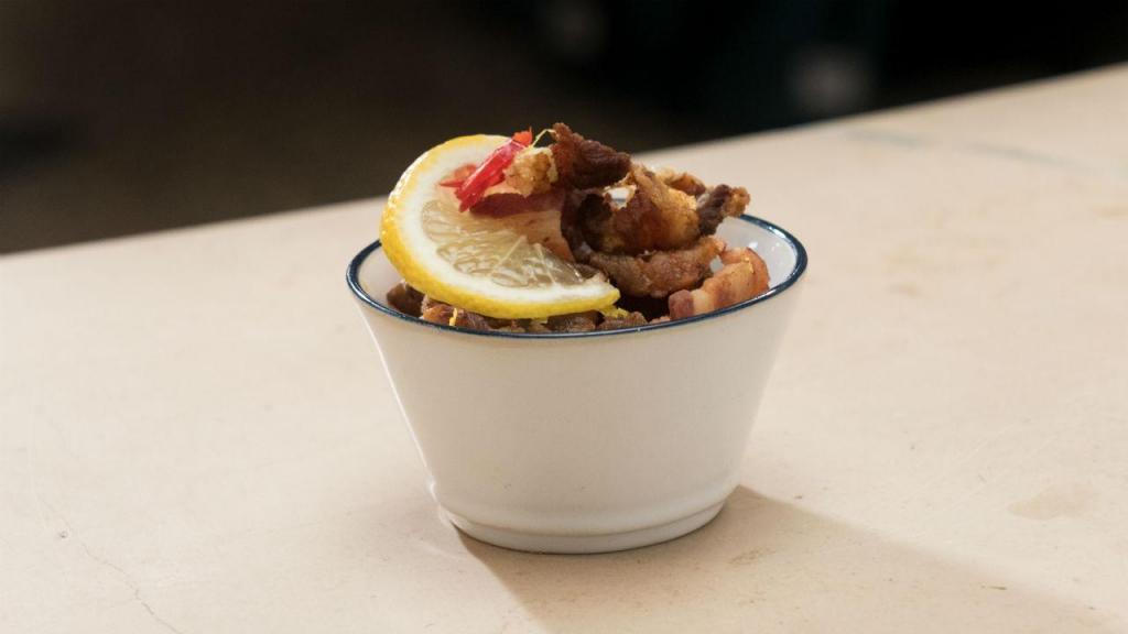 Laminas de toucinho frito