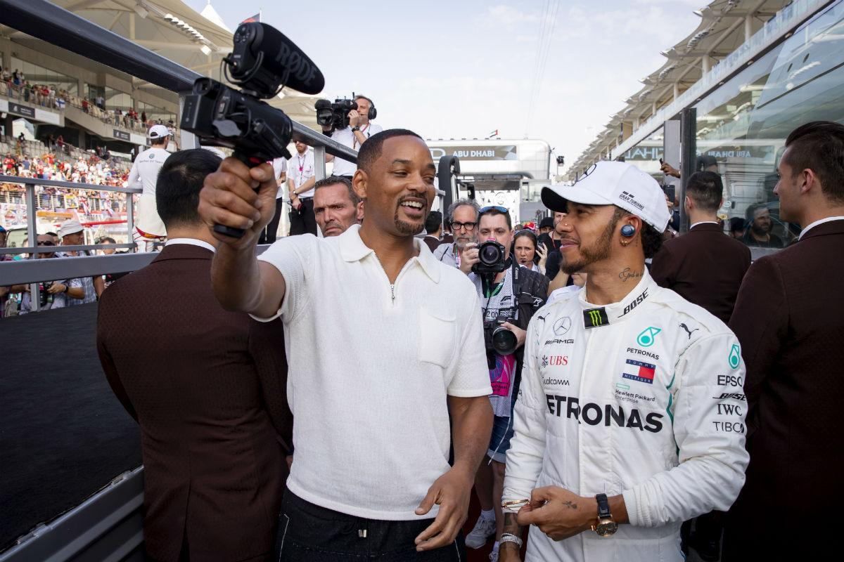 Will Smith e Lewis Hamilton no GP de Abu Dhabi (Lusa)
