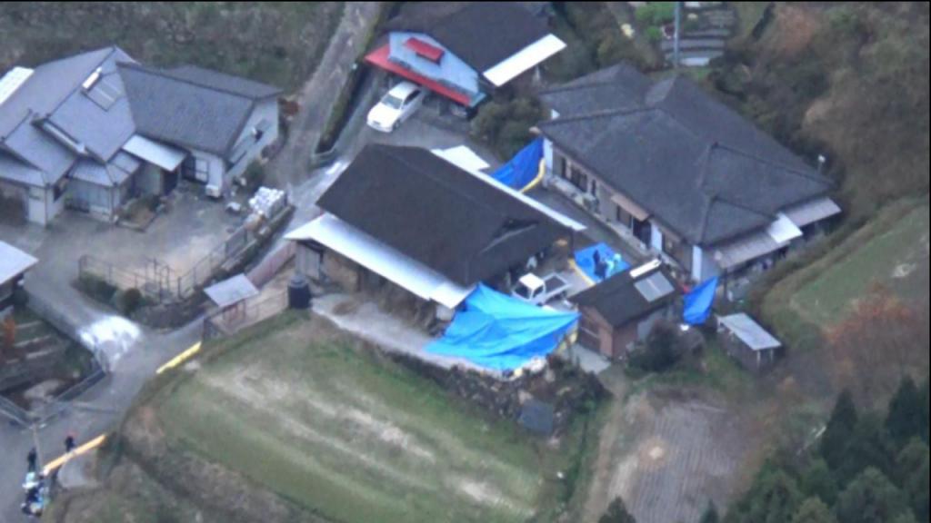 A casa onde foram encontrados cinco pessoas mortas, na cidade de Takachiho