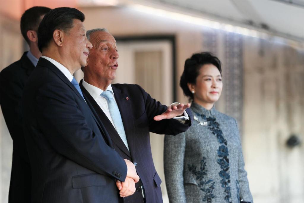 Marcelo Rebelo de Sousa e o presidente da China, Xi Jinping