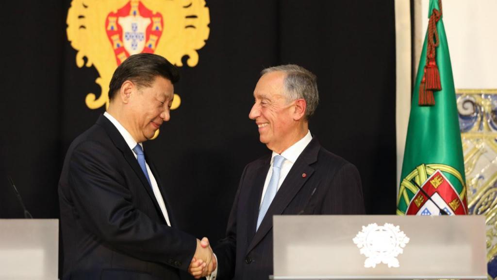 Xi Jinping com Marcelo Rebelo de Sousa
