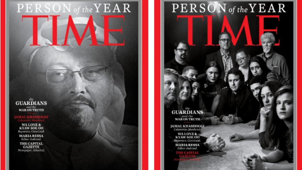Duas das quatro capas que foram publicadas com as pessoas distinguidas como