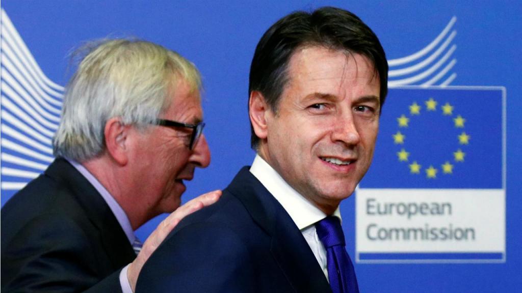 Jean-Claude Juncker e primeiro-ministro italiano, Giuseppe Conte