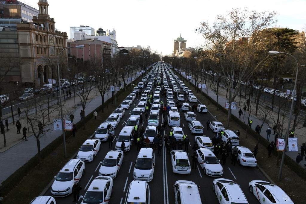 Madrid - protesto de taxistas