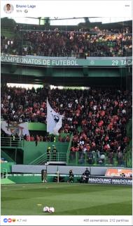 Lage publica foto que tirou aosadeptos do Benfica em Alvalade (facebook Bruno Lage)