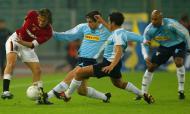 Totti e Sérgio Conceição num Lazio-Roma