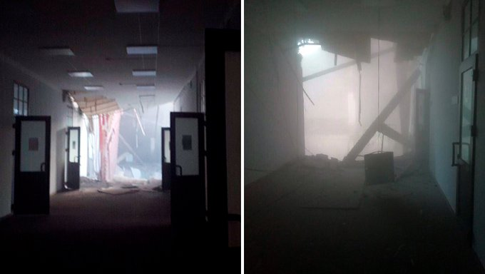 Interior da universidade após a derrocada