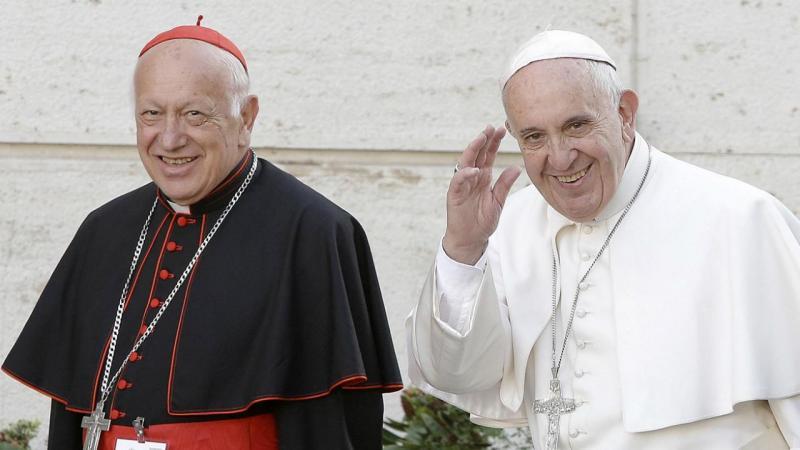 Cardeal Ricardo Ezzati com o papa Francisco