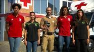 Jogadoras de Benfica e Sporting embalaram alimentos para Moçambique