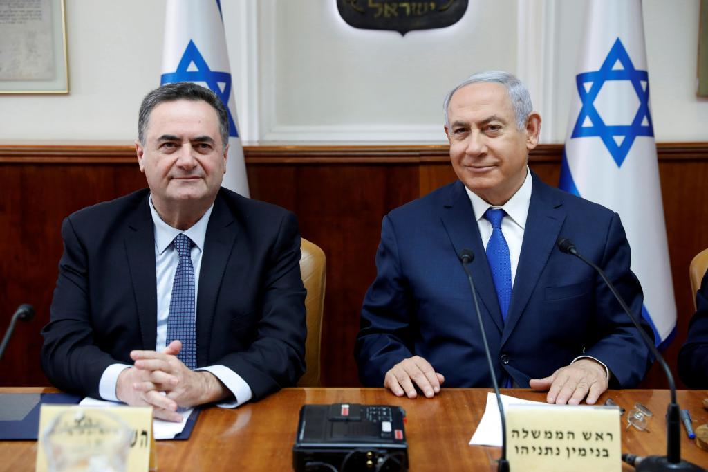 Benjamin Netanyahu e o ministro Israel Katz