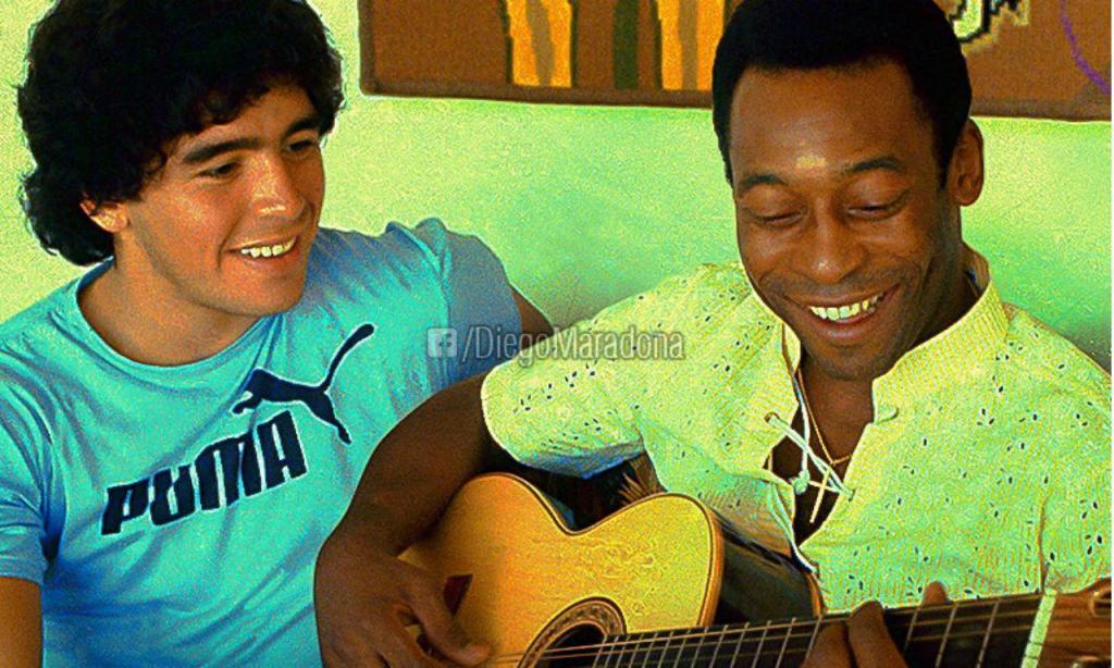 Maradona e Pelé na juventude