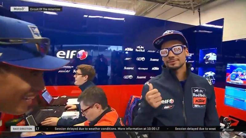Miguel Oliveira bem disposto (reprodução Twitter MotoGP)