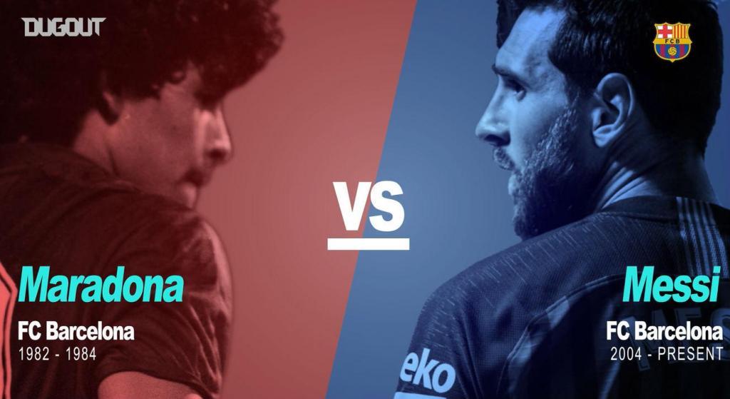 Maradona e Messi no Barcelona