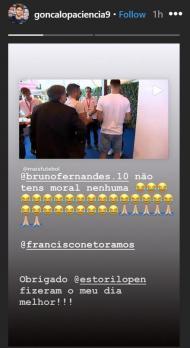 Gonçalo Paciência «goza» com Bruno Fernandes (Instagram)
