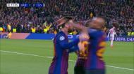 Assistência da trave, Messi recebe no peito e marca