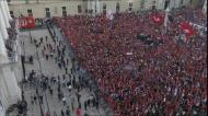 O hino do Benfica na receção dos campeões na Câmara de Lisboa
