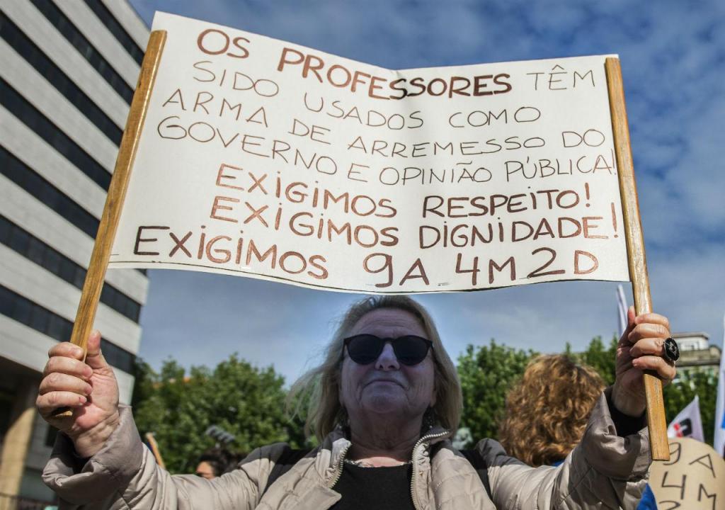 Professores em protesto
