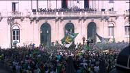 A receção dos adeptos do Sporting aos jogadores na Câmara de Lisboa